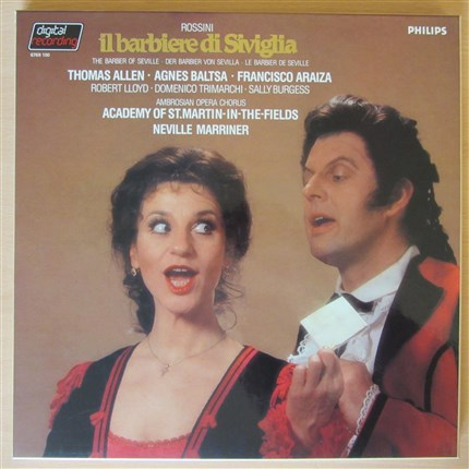Rossini Il Barbiere di Siviglia Allen, Baltsa, Araiza Academy St. Martin-in-the-Fields Neville Marriner PHILIPS