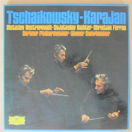 Tchaikovsky The last three symphonies and concertos & overtures Richter, Rostropovich, Ferras Berlin Philharmonic KARAJAN DGG
