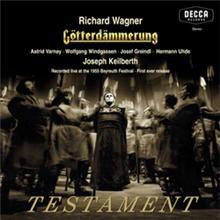 Wagner Götterdämmerung Recorded in stereo live at the 1955 Bayreuth Festival Jutta Vulpius, Elisabeth Schärtel, Maria Graf Gustav Neidlinger, Astrid Varnay, Maria von Ilosvay, Wolfgang Windgassen Bayreuth Festival Orchestra Joseph Keilberth TESTAMENT