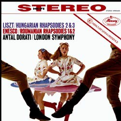 George Enesco: Roumanian Rhapsodies op. 11 No. 1 in A major and No. 2 in D major / Franz Liszt: Hungarian Rhapsodies No. 2 in D minor and No. 3 in D major - The London Symphony Orchestra coducted by Antal Dorati
